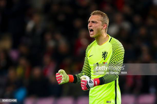 Jasper Cillessen of Holland celebrates during the International Friendly match between Portugal and Holland at Stade de Geneve on March 26, 2018 in...
