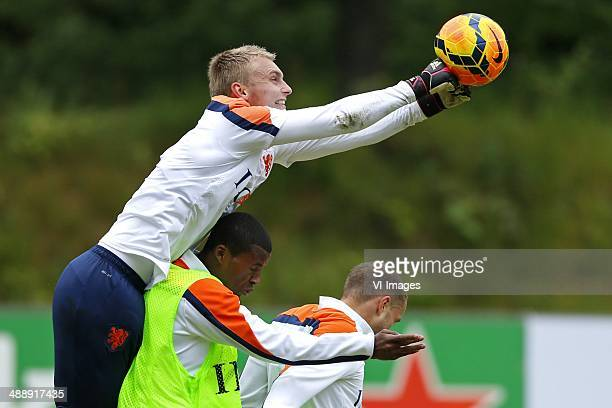 Jasper Cillessen of Holland Georginio Wijnaldum of Holland Luc Castaignos of Holland during a training session of the Netherlands on May 9 2014 at...