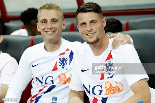 Jasper Cillessen of Holland Hans Hateboer of Holland during the International Friendly match between Slovakia v Holland at the City Arena on May 31...