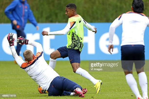 Jasper Cillessen of Holland JeanPaul Boetius of Holland during a training session of the Netherlands on May 9 2014 at Hoenderloo The Netherlands