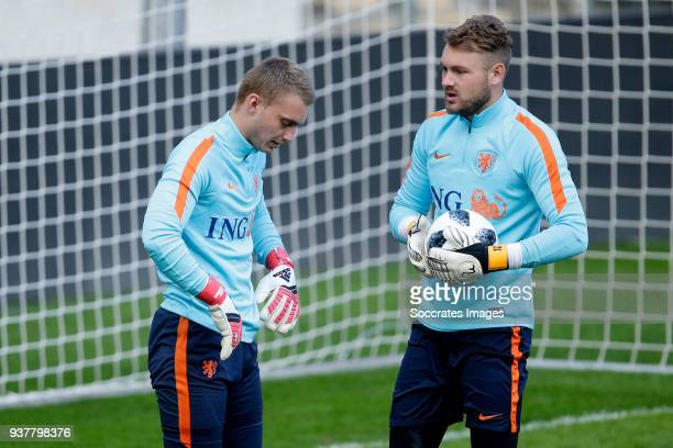Jasper Cillessen of Holland Jeroen Zoet of Holland during the Training Holland in Geneve at the Stade de Geneve on March 25 2018 in Geneve Switzerland