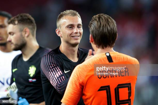 Jasper Cillessen of Holland Ruud Vormer of Holland during the International Friendly match between Slovakia v Holland at the City Arena on May 31...