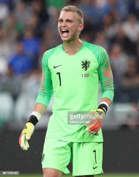 Jasper Cillessen of Netherlands reacts during the International Friendly match between Italy and Netherlands at Allianz Stadium on June 4 2018 in...