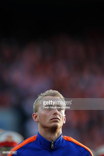 Jasper Cillessen of Netherlands stands for the national anthem prior to the International Friendly match between Netherlands and Ghana at De Kuip on...