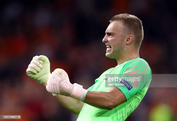 Jasper Cillessen of the Netherlands celebrates after his sides score their second goal during the UEFA Nations League A group one match between...