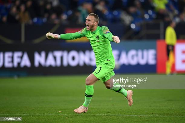 Jasper Cillessen of the Netherlands celebrates after his team mate Virgil van Dijk of the Netherlands scored their team's second goal during the UEFA...