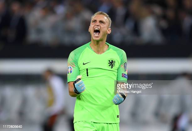Jasper Cillessen of the Netherlands celebrates after his team's second goal during the UEFA Euro 2020 qualifier match between Germany and Netherlands...