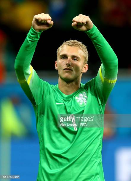 Jasper Cillessen of the Netherlands celebrates the victory after the 2014 FIFA World Cup Brazil Quarter Final match between Netherlands and Costa...