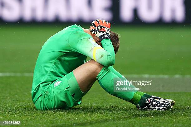Jasper Cillessen of the Netherlands reacts after being defeated by Argentina in a penalty shootout during the 2014 FIFA World Cup Brazil Semi Final...
