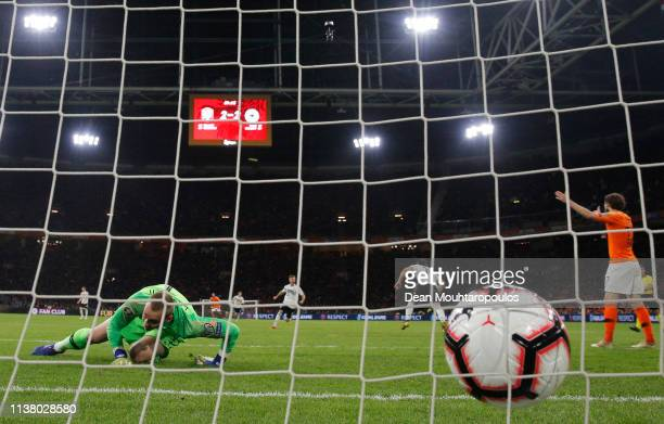 Jasper Cillessen of the Netherlands reacts as Nico Schulz of Germany scores his team's third goal during the 2020 UEFA European Championships Group C...