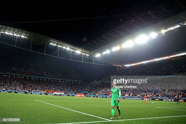 Jasper Cillessen of the Netherlands walks on during the penalty shootout during the 2014 FIFA World Cup Brazil Semi Final match between the...