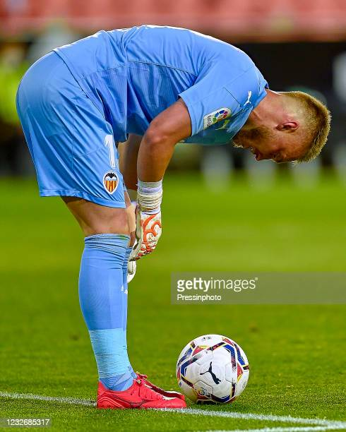 Jasper Cillessen of Valencia CF during the La Liga match between Valencia CF and FC Barcelona played at Mestalla Stadium on May 2, 2021 in Valencia,...