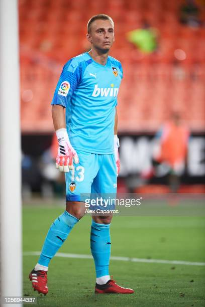 Jasper Cillessen of Valencia CF looks on during the Liga match between Valencia CF and RCD Espanyol at Estadio Mestalla on July 16 2020 in Valencia...
