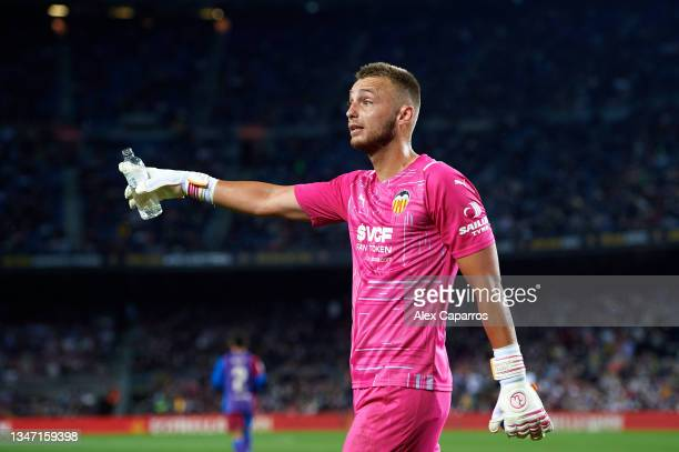 Jasper Cillessen of Valencia CF reacts during the LaLiga Santander match between FC Barcelona and Valencia CF at Camp Nou on October 17, 2021 in...