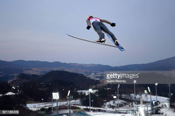 Jasper Good of the United States jumps during the Nordic Combined Individual Gundersen Large Hill Ski Jumping trial round on day eleven of the...