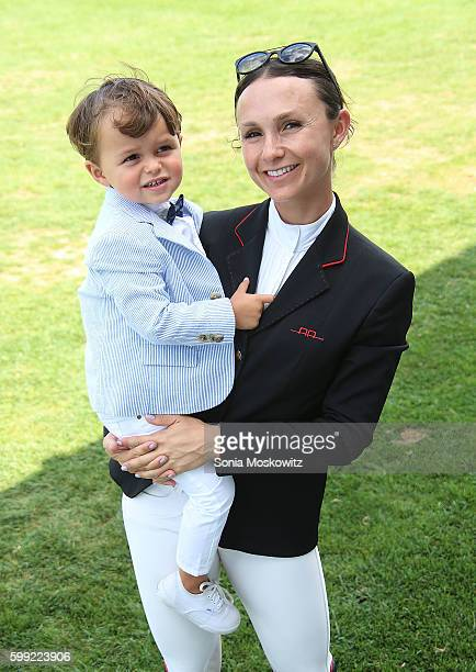 Jasper Michael Brown Quintana and Georgina Bloomberg attend the 41st Annual Hampton Classic Grand Prix on September 4 2016 in Bridgehampton New York