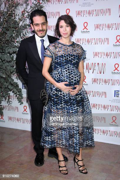 Jasper Pfrunder and Claire Tran attend the 16th Sidaction as part of Paris Fashion Week on January 25 2018 in Paris France