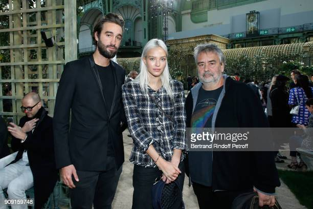 Jasper Pfrunder Sasha Luss and Luc Besson attend the Chanel Haute Couture Spring Summer 2018 show as part of Paris Fashion Week on January 23 2018 in...