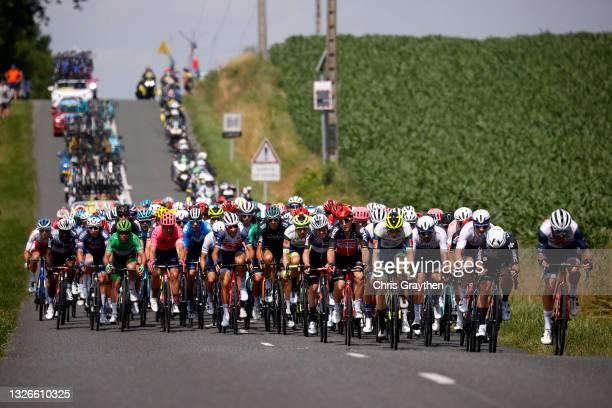 Jasper Philipsen of Belgium and Team Alpecin-Fenix, Mark Cavendish of The United Kingdom and Team Deceuninck - Quick-Step Green Points Jersey, Simon...