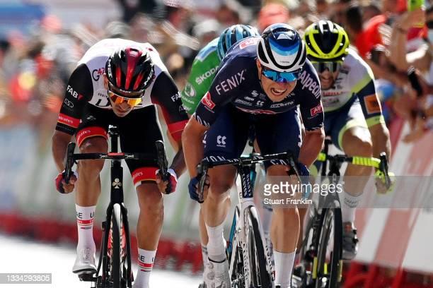 Jasper Philipsen of Belgium and Team Alpecin-Fenix sprints to winning ahead of Juan Sebastián Molano Benavides of Colombia and UAE Team Emirates...