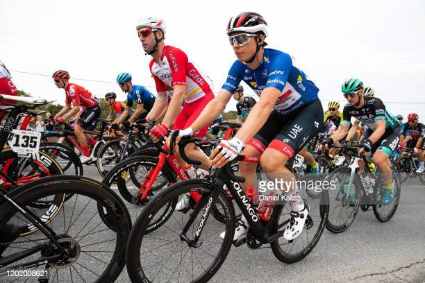Jasper Philipsen of Belgium and UAE Team Emirates Blue Sprint Jersey / during the 22nd Santos Tour Down Under 2020, Stage 6 a 151,5km stage from...