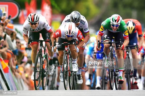 Jasper Philipsen of Belgium and UAE Team Emirates, Caleb Ewan of Australia and Team Lotto Soudal, Peter Sagan of Slovakia and Team Bora-Hansgrohe and...