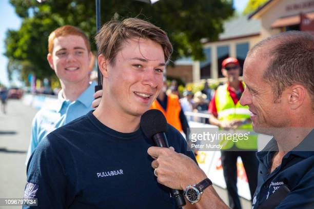 ADELAIDE AUSTRALIA JANUARY 20 Jasper Philipsen of Belgium nd UAE Team Emirates at the start of Stage 6 from McLaren Vale to Willunga Hill of the...