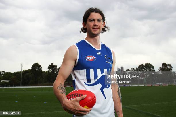 Jasper Pittard of the Kangaroos poses during a North Melbourne Kangaroos AFL media opportunity at Arden Street Ground on November 20 2018 in...