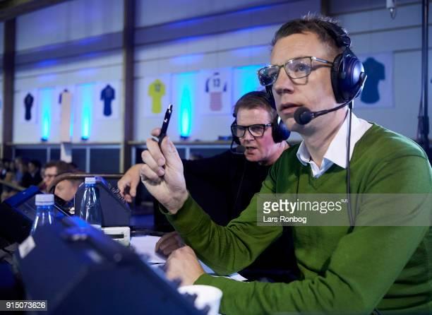 Jasper Stadum journalist of TV2 Sporten and Rolf Sorensen during day six of the Bilka Six Day Copenhagen bike race at Ballerup Super Arena on...
