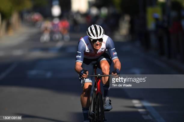 Jasper Stuyven of Belgium and Team Trek - Segafredo during the 112th Milano-Sanremo 2021 a 299km race from Milano to Sanremo / Poggio di San Sanremo...