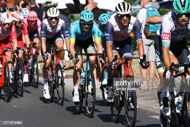Jasper Stuyven of Belgium and Team Trek - Segafredo / Hugo Houle of Canada and Astana Pro Team / Edward Theuns of Belgium and Team Trek - Segafredo /...