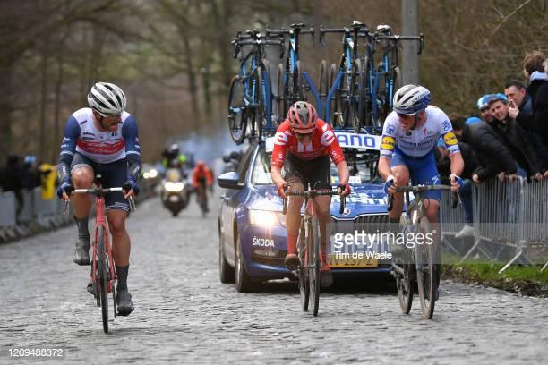 Jasper Stuyven of Belgium and Team Trek - Segafredo /Soren Kragh Andersen of Denmark and Team Sunweb / Yves Lampaert of Belgium and Team Deceuninck -...