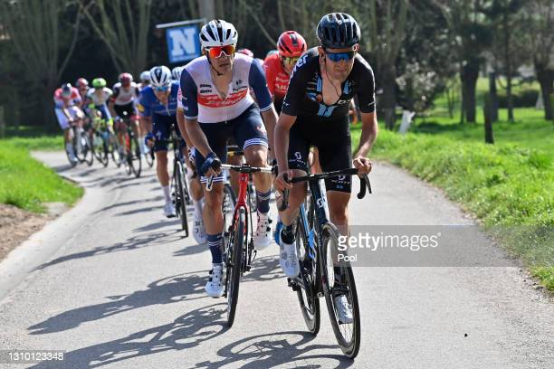 Jasper Stuyven of Belgium and Team Trek - Segafredo & Tiesj Benoot of Belgium and Team DSM during the 75th Dwars Door Vlaanderen 2021, Men's Elite a...