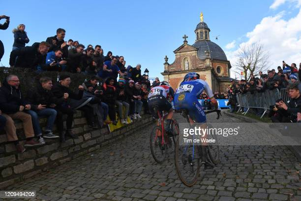 Jasper Stuyven of Belgium and Team Trek - Segafredo / Yves Lampaert of Belgium and Team Deceuninck - Quick-Step / Wall of Geraardsbergen / De Muur /...