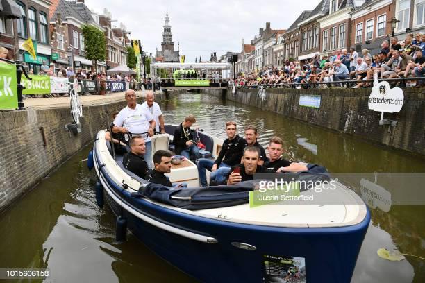 Jasper Stuyven of Belgium and Team Trek-Segafredo / Eugenio Alafaci of Italy and Team Trek-Segafredo / Matthias Brandle of Austria and Team...