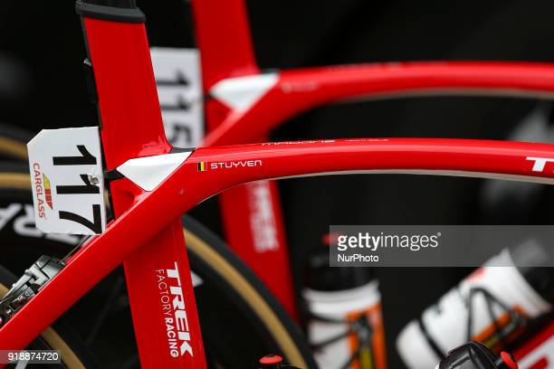 Jasper Stuyven's bicycle of TrekSegafredo before the 2nd stage of the cycling Tour of Algarve between Sagres and Alto do Foia on February 15 2018