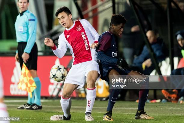 Jasper ter Heide of Ajax U19 Romaric Yapi of Paris SaintGermain U19 during the UEFA Youth League play off match between Ajax U19 and Paris Saint...