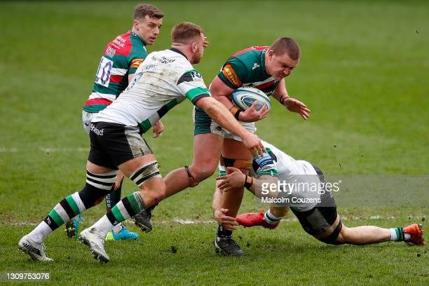 Jasper Weise of Leicester Tigers is tackled during the Gallagher Premiership Rugby match between Leicester Tigers and Newcastle Falcons at Welford...