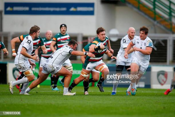 Jasper Weise of Leicester Tigers runs with the ball during the Gallagher Premiership Rugby match between Leicester Tigers and Gloucester at Welford...