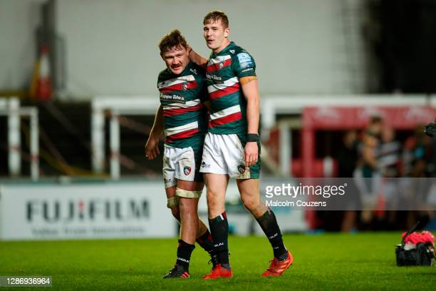 Jasper Wiese and Freddie Steward of Leicester Tigers celebrate following the Gallagher Premiership Rugby match between Leicester Tigers and...