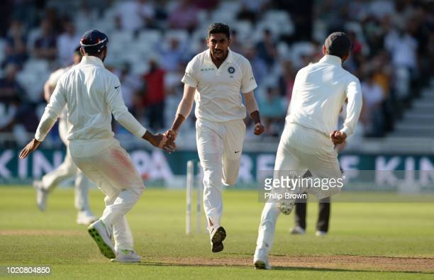 Jasprit Bumrah celebrates after dismissing Jonny Bairstow of England during the fourth day of the 3rd Specsavers Test Match between England and India...