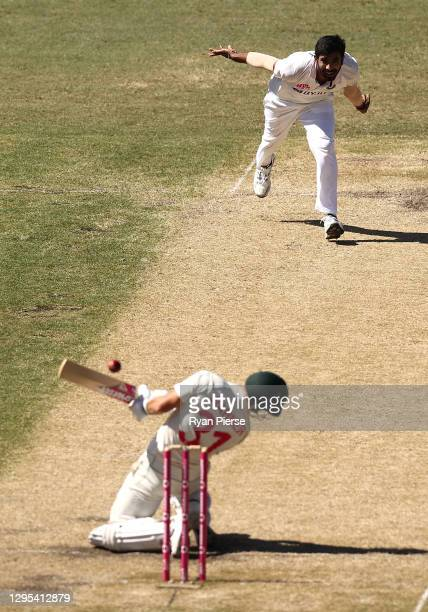 Jasprit Bumrah of India bowls a short ball to David Warner of Australia during day three of the 3rd Test match in the series between Australia and...