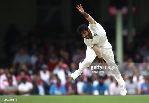 Jasprit Bumrah of India bowls during day four of the Fourth Test match in the series between Australia and India at Sydney Cricket Ground on January...