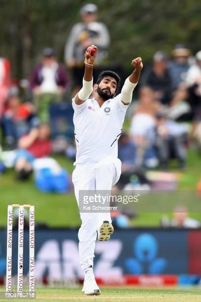 Jasprit Bumrah of India bowls during day three of the Second Test match between New Zealand and India at Hagley Oval on March 02, 2020 in...