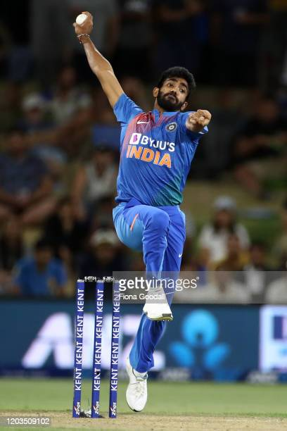 Jasprit Bumrah of India bowls during game five of the Twenty20 series between New Zealand and India at Bay Oval on February 02, 2020 in Mount...