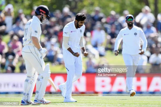Jasprit Bumrah of India celebrates after dismissing Kane Williamson of New Zealand during day two of the Second Test match between New Zealand and...