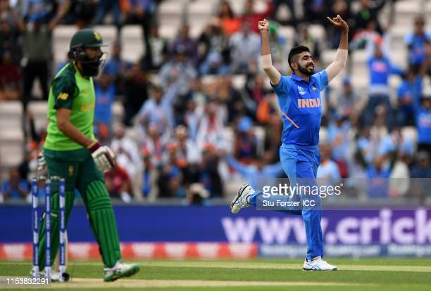 Jasprit Bumrah of India celebrates after taking the wicket of Hashim Amla of South Africa during the Group Stage match of the ICC Cricket World Cup...