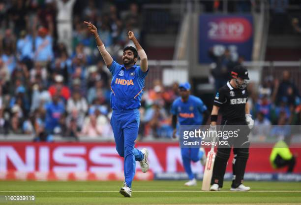 Jasprit Bumrah of India celebrates after taking the wicket of Martin Guptill of New Zealand during the Semi-Final match of the ICC Cricket World Cup...