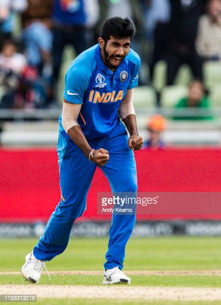 Jasprit Bumrah of India celebrates after taking the wicket of Rubel Hossain of Bangladesh during the Group Stage match of the ICC Cricket World Cup...
