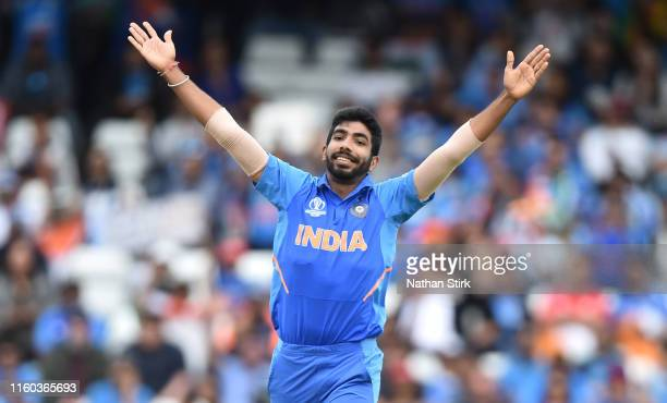 Jasprit Bumrah of India celebrates as he gets Dimuth Karunaratne of Sri Lanka out during the Group Stage match of the ICC Cricket World Cup 2019...